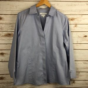 Foxcroft NYC Button Down Lt Blue Top Size 16